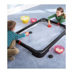 Play air hockey anywhere! Quieter and more compact than standard air hockey tables, the PowerBand system creates action without batteries or electricity. Family Games Indoor, Indoor Games, Montreal Canadiens, Games For Kids, Fun Games, Storage Sets, Easy Storage, Air Hockey, Tabletop Games