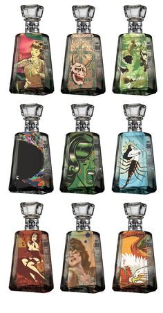 1800 Tequila Essential Artists Bottles. The nine artists featured in this limited edition production are: Dosa Kim, Glenn Barr, Artillery, Chris Dean, Jorge Alderete, Josh Ellingson, Hannah Stouffer, Jeremy Bacharach.