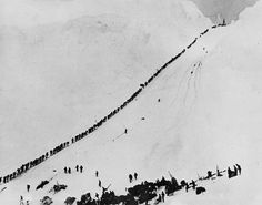 alt=Historical photograph of a dense line of miners climbing over the Chilkoot Trail during the Klondike Gold Rush.In Alaska