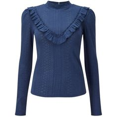 Miss Selfridge Blue Pointelle Ruffle Top (35 CHF) ❤ liked on Polyvore featuring tops, sweaters, blue, high neck long sleeve top, high neck top, blue sweater, blue cotton sweater and frilly tops