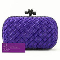 069fe25def  Bottegaveneta Intreccio Impero Ayers Knot Clutch Purple Colour Satin With  Snakeskin Brandnew Condition ref.