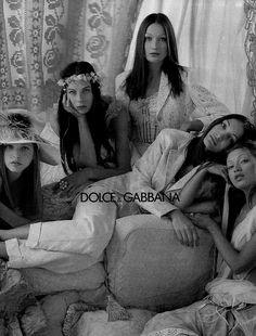 Dolce Gabbana Spring/Summer 1993 (Ad Campaign)Models: Nadja Auermann, Carla Bruni, Benedicte Loyen