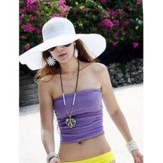 Wholesale Causal & Hot Large Eaves Pure Color Hat----White  top dresses