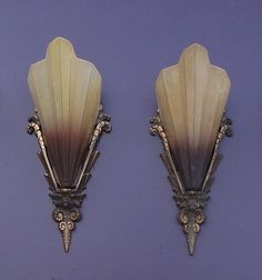 """Extremely nice and rare set of the highly sought after """"Brown Tip"""" art deco antique slip shade sconces. At the moment, two pair of these vintage wall sconces available, may be more coming. These tend to sell very rapidly as the design and quality of  Easy For Your Home Decoration Check it Out!"""