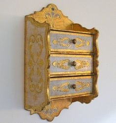 Italian Florentine Chest Three Drawer Dresser by Somethingcharming