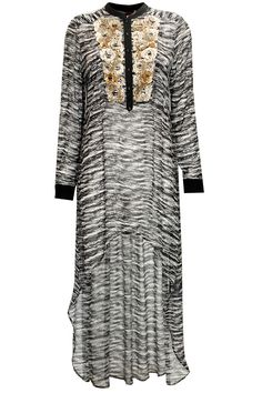 Black and white sequins embellished back long tunic available only at Pernia's Pop-Up Shop.