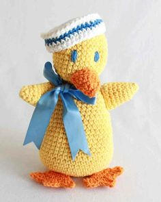 Make your own Sailor Duck! http://www.maggiescrochet.com/collections/crochet/products/sailor-duck-toy-crochet-pattern