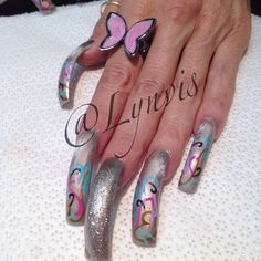 Spring airbrush nail art
