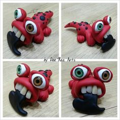 Valentines Monster by Dee Raa Arts. Polymer clay fimo sculpey hand made
