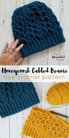 Honeycomb Cabled Beanie: Free Crochet Pattern This crochet cabled beanie is worked from the bottom up using double crochet and front post treble crochet stitches to create this cozy, textured hat. Crochet Cable, Treble Crochet Stitch, Crochet Crafts, Crochet Yarn, Double Crochet, Crochet Stitches, Crochet Projects, Crotchet, Crocheted Hats