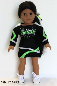 American Girl Doll Clothing / 18 Inch Doll Clothing / Custom Order / Doll Uniform /  Competition Cheer / Cheer Uniform / TGIC Saints Cheer / Cheer Bow / Custom Replica / Totally Dolls /  Ask us about our custom orders and see what we can create for you!