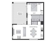 An innovative twist on granny flats, McDonald Jones Homes offers an additional level of luxury to enrich your Australian lifestyle options. View our floor plan. Modular Home Floor Plans, House Floor Plans, Granny Flat Plans, Mcdonald Jones Homes, Garage Apartment Plans, House Blueprints, Small House Design, Shipping Container Homes, Build Your Dream Home