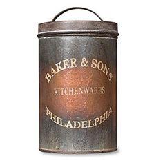 New Primitive Vintage BAKER & SON'S KITCHENWARES Philadelphia Canister Tin Lid