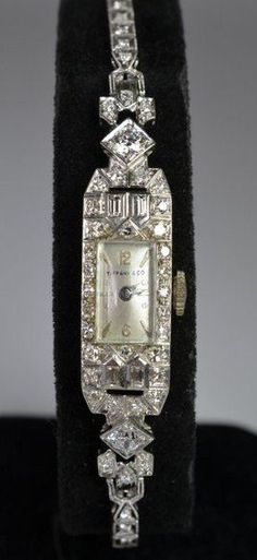 PLATINUM & DIAMOND TIFFANY LADIES WATCH