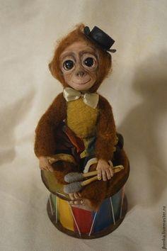 Игрушки животные, ручной работы. Ярмарка Мастеров - ручная работа. Купить обезьянка Джаз. Handmade. Коричневый, акриловые краски и лак