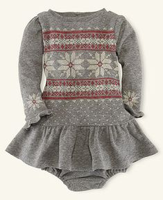Ralph Lauren Baby Dress, Baby Girls Ruffle-Trim Graphic Dress - Kids Newborn Shop - Macy's.... with cute leggings and black boots the little one would be adorable