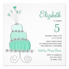 Whimsical Sweet Cake Girl Birthday Party Photo Inv Invites