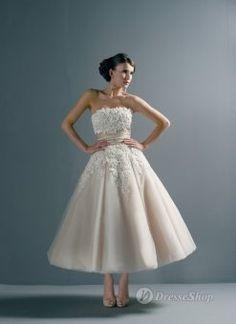 Ivory Tulle Empire Hand Made Flower Strapless Tea-length Wedding Dress DSSRTD013