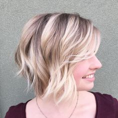 Brown Blonde Wavy Balayage Bob