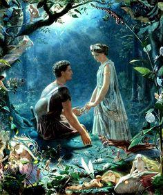 Hermia and Lysander, A Midsummer Night's Dream, John Simmons (1823-1876)