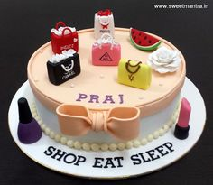 Shopping bags theme customized designer fondant cake for girlfriend's birthday at Pune