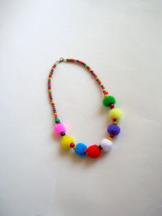 Pom Pom Necklace Flower Girl Necklace Colour Ful Pom Pom