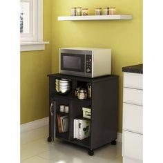 amazoncom kitchen microwave cart with spice rack and electrical socket espresso finish kitchen storage carts rampant consumerism pinterest