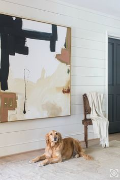 Shiplap panels in the entryway are so cool an casual with an edge Design by Dana Wolter Interiors art abstracto Project Expansion - Dana Wolter Interiors Abstract Canvas Art, Oil Painting On Canvas, Modern Abstract Art, Abstract Paintings, Modern Paintings, Modern Canvas Art, Black Abstract, Modern Wall Art, Painting Art