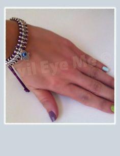 PurpleSilver Khamsa Bracelet by EvilEyeMe on Etsy, $19.99