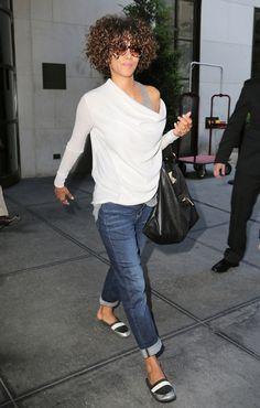 white & grey + jeans