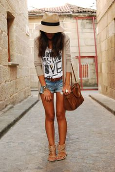 with a longer short or denim skirt, love this relaxed summer look with hat, would keep me safe from the sun!!!!