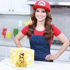 Ro with her Mario Question Block Surprise Cake Rosanna Pansino Nerdy Nummies, Surprise Cake, Super Mario, American Actress, Cooking, Instagram Posts, Pretty, Watch Video, Youtubers
