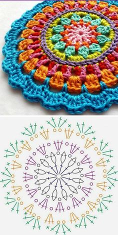 New crochet granny square bag crafts Ideas Crochet Mandala Pattern, Crochet Diagram, Crochet Doilies, Crochet Flowers, Crochet Simple, Love Crochet, Knit Crochet, Crochet Rug Patterns, Crochet Stitches