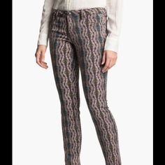 Printed Denim You'll love the sexy, skinny look of the Kiss Me jegging jeans from Jessica Simpson. Softly colored in a feathery print and has a touch of spandex to give it just enough stretch for a flattering fit.                                                                                                                                *5-pocket styling with faux front pockets *Inseam: 31 1/2 *Cotton/polyester/spandex *Machine washable Jessica Simpson Jeans Skinny