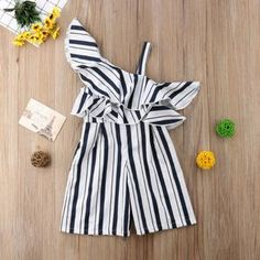 Baby kdis Girls Off-shoulder Romper Jumpsuit Wide-legged Pants Outfits New Baby Boy Fashion, Toddler Fashion, Toddler Outfits, Kids Outfits, Kids Fashion, Fashion Outfits, Toddler Jumpsuit, Toddler Rompers, One Shoulder Jumpsuit