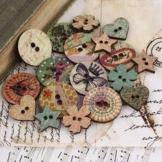 Wooden Buttons - I love theses!  They would make great embellishments for painted pieces