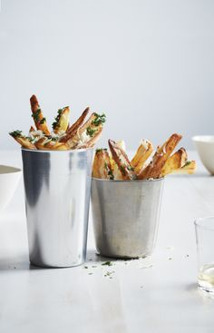 """Oven-Fried Truffle Chips: Short and thick, these oven-baked fries are modeled after British """"chips."""" Parsley, Parmesan, and truffle oil toppings give them a gourmet feel.  Oven-Fried Truffle """"Chips"""", 2.5 out of 4 based on 4 ratings"""