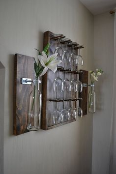 """Maybe you don't have time to do the DIY wine glass rack kit that we offer and our hand-painted rack is a bit too much….Here's the """"Just Right"""" wine glass rack-Assembled, stained and polyurethane and ready to go! Very Rustic Chic!!!!! Elegantly Rustic Espresso Finish Wine Glass by NorthEastReclaimed, $167.00."""