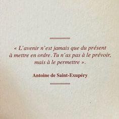 """""""L'avenir n'est jamais que du présent à mettre en ordre. Tu n'as pas à le prévoir, mais à le permettre."""" - [Antoine de Saint-Exupéry]"""