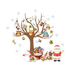 Looching Merry Christmas Santa Snowman Tree Removable Wall Stickers Murals For S. Looching Merry Christmas Santa Snowman Tree Removable Wall Stickers Murals For Shop Window Showcase Living Room.