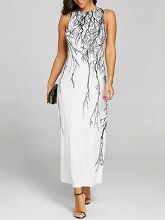 Sleeveless Branch Print Maxi Evening Dress - WHITE M