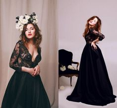 Black Lace Deep V Neck Evening Dresses 2016 3/4 Long Sleeves A Line Long Prom Party Dress New Plus Size Evening Gowns