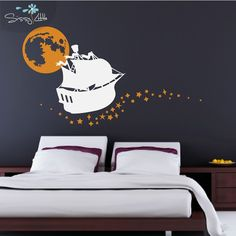 Sailing on Stars - Vinyl Wall Decal - Ship, Moon and Stars (ship-warm gray, moon and stars-storm or dark gray) Neverland Nursery, Small Apartment Furniture, Wall Decor Design, Little Designs, Warm Grey, Small Apartments, Vinyl Wall Decals, All Wall, Kids Room