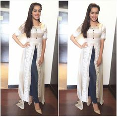 Shraddha Kapoor # Kurti fusion # love for white # Indian fashion