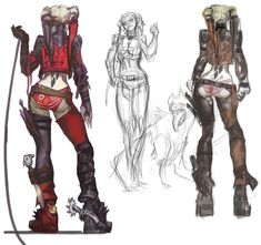 Harley Quinn Designs  | Cute pants.  I always like seeing sketches in progress... what get's altered or removed/changed altogether as the design develops. It's cool to watch.