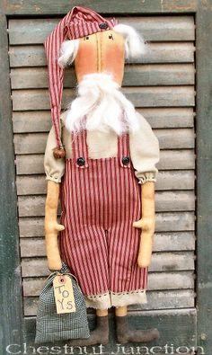 Santee Klaus ePattern - primitive christmas santa claus doll pattern - PDF - 3.99