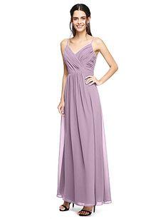 38f43b4efb09 Ίσια Γραμμή Λεπτές Τιράντες Μακρύ Σιφόν Φόρεμα Παρανύμφων με Πιασίματα  Χιαστί με LAN TING BRIDE®
