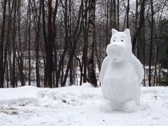 Someone built an adorable Snow Moomin in Helsinki Central Park.