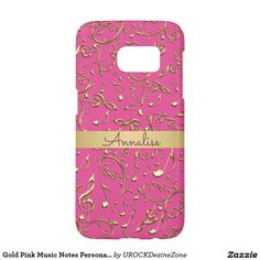 Gold #Pink #Music Notes Personalized #Galaxy S7 Case  #zazzle