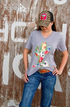 Floral cactus v-neck unisex t shirt / poly-cotton by RockinAdesign Rockin A Design, boho, turquoise, cowgirl, western, wholesale, southwestern, cactus, saguaro, wildflowers, desert, rodeo, barrel racer, leopard, patch trucker hat